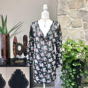 Boho Hippie Festival Sheer Print Tunic Dress M